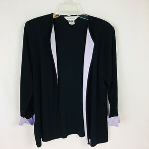 Exclusively Misook Open Front Cardigan Sweater Bla